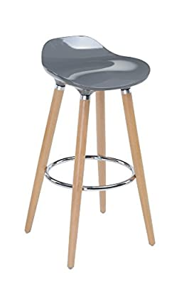 Bar stool with natural beech legs and GREY seat - Scandinavian style, modern and refined look