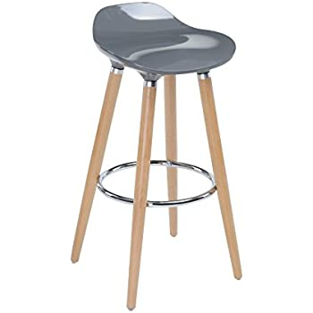 Tabouret de bar avec pieds en hêtre naturel et assise coloris GRIS - Style scandinave, look moderne et épuré