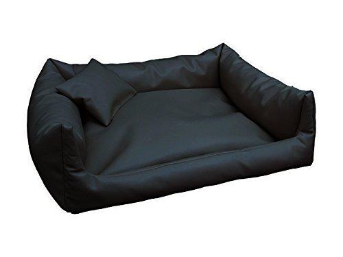 Artur soja rex lettino per cani in ecopelle, xl, 90 x 120 cm, colore: nero, con cuscino