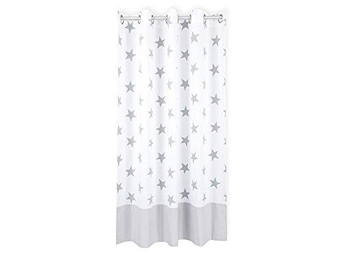 KraftKids Gardine große graue Sterne auf Weiss Unigrau aus 100% Baumwolle, stilvolle Vorhänge mit Ösen, Gardinen 170 cm lang für das Kinderzimmer