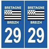 Autocollant plaque immatriculation auto département 29 Finistère