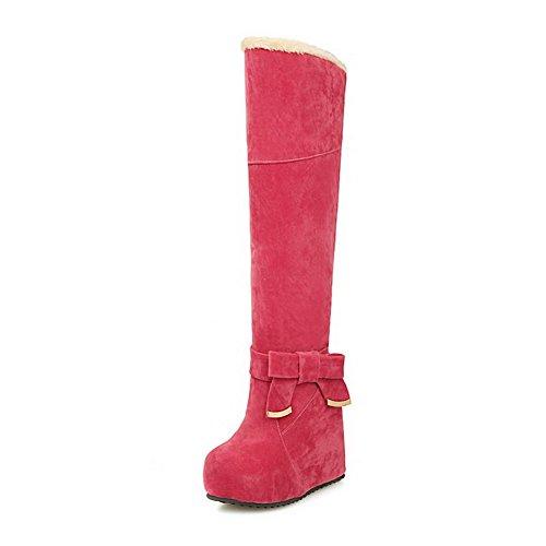 VogueZone009 Damen Ziehen Auf Hoher Absatz Rein Hoch-Spitze Stiefel mit Schleife Rot
