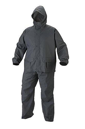 MOTOWAY Men's PVC Waterproof Hooded Rain Suit Black_Free Size 317xp7bUrYL
