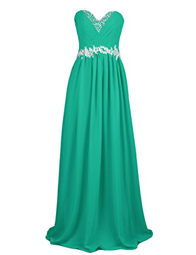 Dresstells, Robe de soirée de mariage/cérémonie/demoiselle d'honneur forme Princesse bustier en coeur pailletée Vert