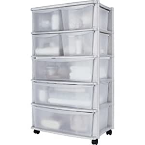Plastic Wide Tower Storage Unit On Wheels With 7 Drawers
