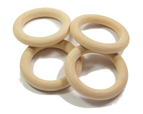 ❤️HobbyHerz 10 Stück Holzringe 49mm Natur zum Basteln | Schmuck,Makramee,Traumfänger selber Machen | Gardinen-Ringe | Bastel-Ringe | unbehandeltes Holz (50mm 10 STK.)