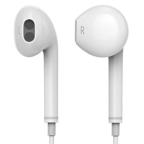 qubbi ® In Ear Kopfhörer mit Lautstärkenregler für iOS Android in weiss