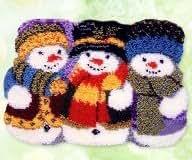 "Latch Hook Rug Kit""Three Winter Snowmen""52x38cm"