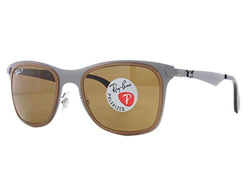 Ray Ban Wayfarer Flat Metal Matte Gunmetal / Polar Brown Polarized - 50