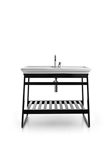 Meuble avec châssis en bois wengé modèle traîneau Idéal pour lavabo Naked 90 x 50 x H78 cm