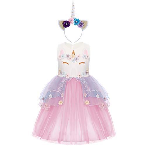 OBEEII Einhorn Kostüm Sommer Kleider Mädchen Festlich Cosplay Party Prinzessin Tutu Rock für Festival Karneval Geburtstag Performance Halloween Fotoshooting Rosa 5-6 Jahre