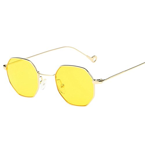 AIMEE7 Lunettes de Soleil Homme Femme Pas cher Lunettes de Soleil Femme Classiques Lunettes de Soleil à métal Cadre Vintage Eyewear Chic Rétro Sunglasses Lunettes de sport Mode Clout Goggles (Jaune)