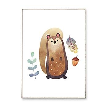 DIN A4 Kunstdruck Poster WALDFREUNDE: EICHHÖRNCHEN -ungerahmt- Kinderzimmer, skandinavisch, Waldtier, Blätter