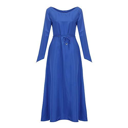 Xmiral Damen Kleid Plus Size Solide Vintage Langarm Verband Lange Partykleider Kostüm für Rollenspiel,Karneval(5XL,Marine Blau)