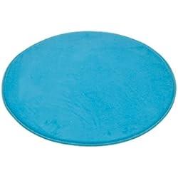 Douceur d'Interieur 6GMB270BL Vitamine Tapis de Salle de Bain Rond Polyester Bleu Océan 60 x 60 x 1 cm