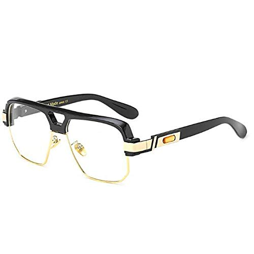 YMTP Matt Schwarz Quadrat Großen Rahmen Klar Gläser Halb Randlos Frauen Männer Optische Rahmen Brillen Transparent, Schwarz
