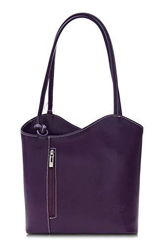 LiaTalia Damen großartige weiche italienische Leder Piping Detail Schulter oder Rucksack Tasche mit Schutztasche - Libby z** (Nicht Piping) - Lila -
