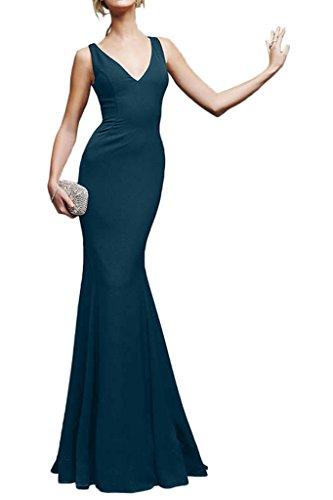 Milano Bride Sexuell V-Ausschnitt Lang Mermaid Abendkleider Festkleider Einfach Dunkel Blau