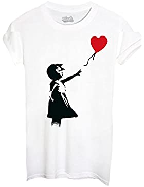 T-SHIRT BANKSY CUORE PALLONCINO - FAMOSI by MUSH Dress Your Style - Donna-M-BIANCA