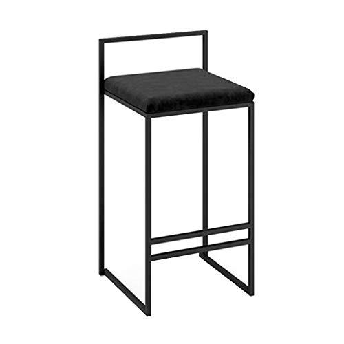 LHNLY-Esszimmerstühle Moderner Barhocker Fußstütze Barstuhl Tresenhocker für Bartisch Pub Küche Hohe Hocker Stühle Bistrohocker | Schwarz Samt und metallbeinen