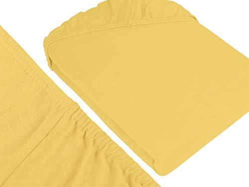 npluseins klassisches Jersey Spannbetttuch - erhältlich in 34 modernen Farben und 6 verschiedenen Größen - 100% Baumwolle, 90-100 x 200 cm, gelb - 3