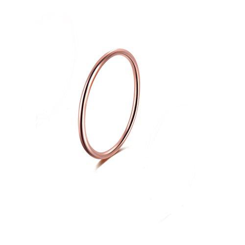 Candyfancy Frauen Vorsteckring Silber 925 Schmal Sterling Dünne Ringe Zarter Echtschmuck Damen Midi Ring (Rosegold, 52 (16.6))