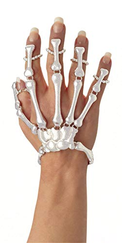 (shoperama Skelett Hand Armband Ring Damen Schmuck Hände Finger Knochen Halloween Horror Dia de los Muertos Day of Death, Farbe:Weiß)