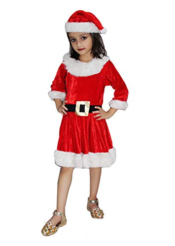 Kaku Fancy Dresses Santa Girl Costume for Kids Christmas Day/School Annual Function/Theme Party/Competition/Stage Shows/Birthday Party Dress