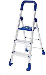 Happer Premium Foldable Aluminium Step Ladder, Clamber Pro, 3 Steps (Blue & Sa