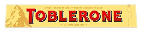 Toblerone Schokolade, Feine Schweizer Milchschokolade mit Honig- und Mandelnougat, 10 x 100g