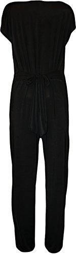 WearAll - Grande taille poche jumpsuit ceinturé a col bénitier sans manches - Combinations - Femmes - Tailles 42-56 Noir