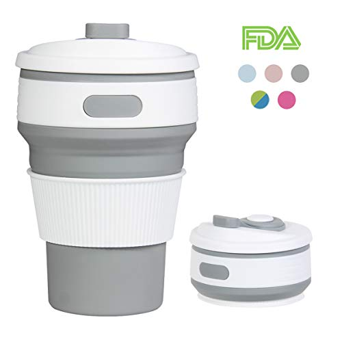 ROCONTRIP Faltbare Tasse, Silikon Becher Kaffee Camping Tasse Reise Geschenk Becher 350ml 100%...