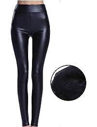 ef0a7f36b FITTOO Mujeres PU Leggins Cuero Brillante Pantalón Elásticos Pantalones  para Mujer
