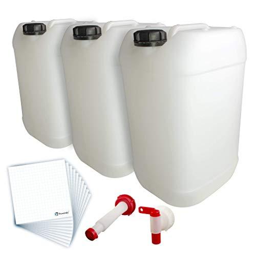 Trevendo® 3er Pack 25 Liter Leerkanister inkl. Auslaufhahn, Ausgießer Flex und 10 Etiketten