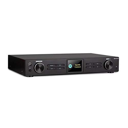 auna iTuner 320 BT digitaler HiFi-Tuner mit Bluetooth und WLAN, Spotify Connect, Internet-, DAB+ und UKW-Tuner, DLNA & UPnP, USB, Netzwerk-Mediaplayer, HCC-Display, Fernbedienung, schwarz
