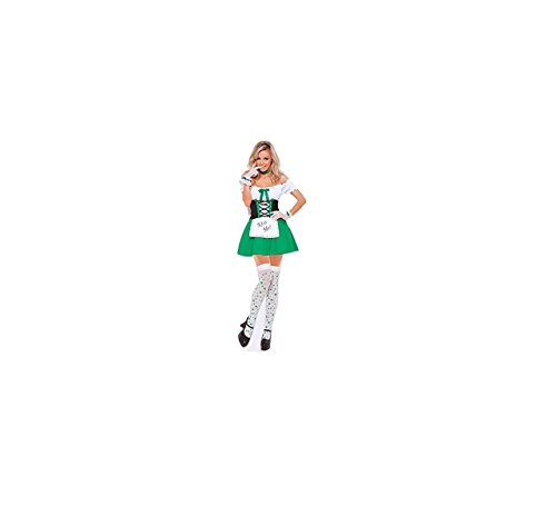 Grün Slash Neck Französisch Dienstmädchen Kostüm der reizvollen (Halloween Kostüme Slash)