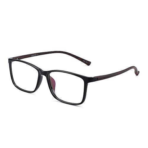JM Retro Licht TR Rechteckig Optischer Rahmen RX-fähig Brillen Gläser Damen Herren Schwarzer Rahmen Holzmuster Tempel