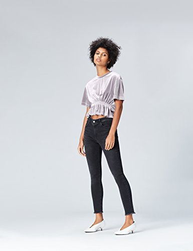 FIND Damen Samt Crop-Top mit Metallic-Finish Silber
