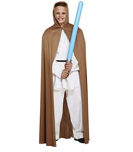 Luke Kostüm Lichtschwert Skywalker Grün - Henbrandt Star Wars Jedi-Umhang, für Kinder, Gr. L, 10-12 Jahre, Braun