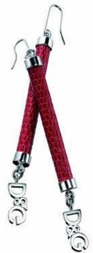 D & G, colore: rosso con motivo bastoncino con D G & orecchini con charm