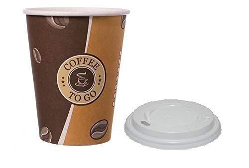 Gastro-Bedarf-Gutheil Cafe to go Kaffeebecher 300 ml PREMIUM mit Deckel, Heissgetränkebecher 100 Stück