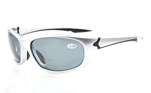 Eyekepper TR90 Unbreakable Sport Bifokale Sonnenbrille Baseball Laufen Angeln Fahren Golf Softball Wandern Silberner Rahmen Graue Linse +1.75