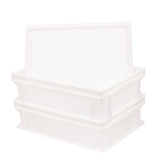 Pimotti Pizzaballenbox (2er Set mit 1xDeckel) mit 30 x 40 x 12 cm, Kunststoffbehälter für Pizzateig, Stapelbehälter, Gärbox