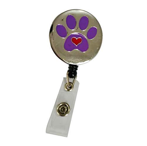 Surlove Hundepfotenabzeichen, einziehbar, mit Krokodilklemme, rund, für Namensschilder Purple Dog Paw Print