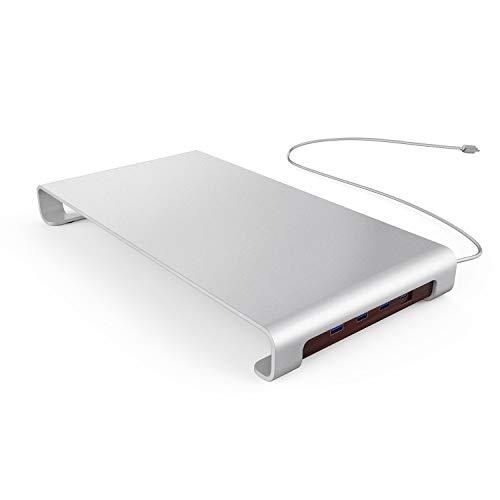 Urbo Bildschirmständer mit Typ-C USB-Hub für Multi-Device-Konnektivität, Monitor Halterung mit Tastaturablage für effizienten Arbeitsbereiche