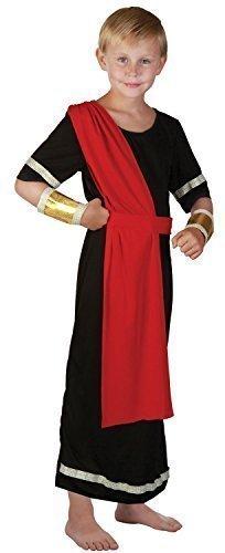 Fancy Me Mädchen oder Jungen Schwarz Rot Römische Toga Schule Kostüm Kleid Outfit 4-14 Jahre - Jungen, 10-12 Years (Zubehör Toga Kostüm)