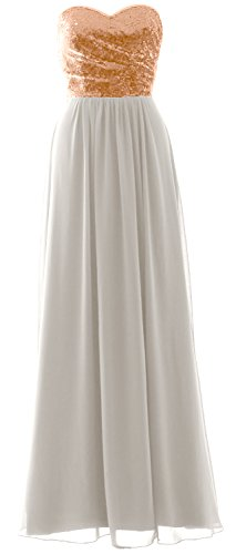 MACloth Elegant Strapless Long Bridesmaid Dress Sequin Chiffon Party Formal Gown Rose Gold-Ivory