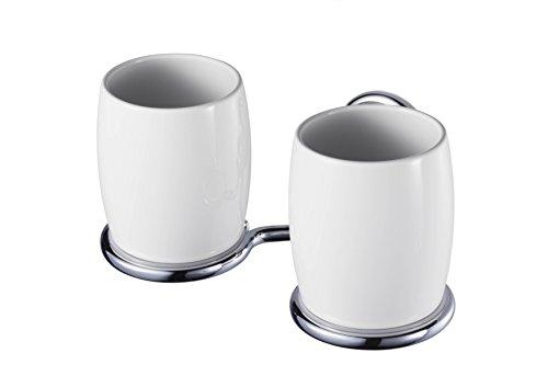 Haceka, Bicchieri portaspazzolini in porcellana 1126175 Allure Doppelbecherhalter Porzellan, Metallo (Metallic)
