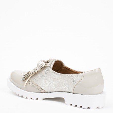 Ideal Shoes - Mocassins bi-matière à franges Alaina Gris