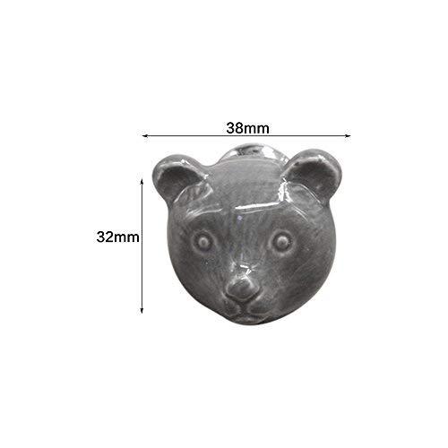 Lvcky 4Lovely Bear Form Schublade Knauf zieht Keramik Animal Schränke Knöpfe Griff Set für Kinder Kleiderschrank blau (Tier-knöpfe Zieht Und)